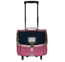 Cartable trolley fille 38cm Tann's Céleste 42256 Bleu / Rose Constellation cuivrée