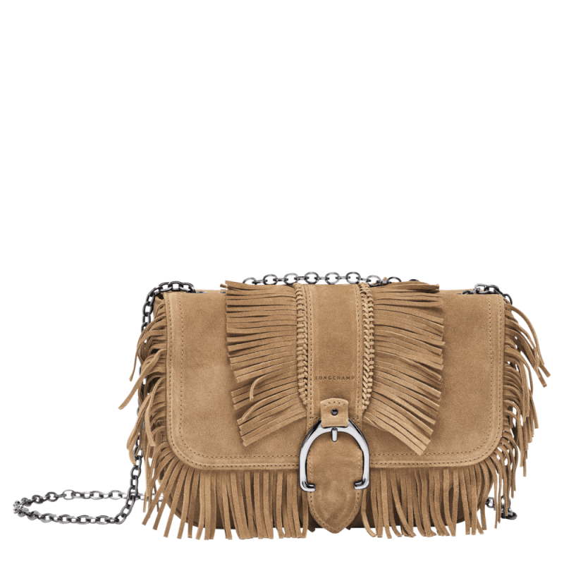 Sac bandoulière franges Longchamp Amazone Folk naturel L1357957006