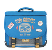 Cartable 35cm réversible Pol Fox Old School P2-CA35-REV Bleu / Gris chiné